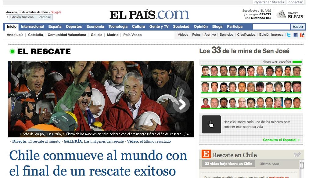 Rescate de los mineros en El País
