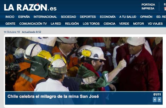 El rescate de los mineros en La Razón