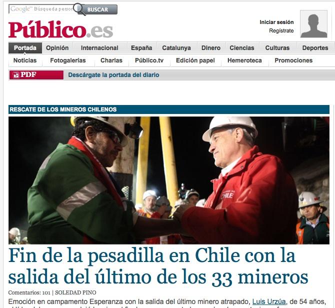 El rescate de los mineros en Público