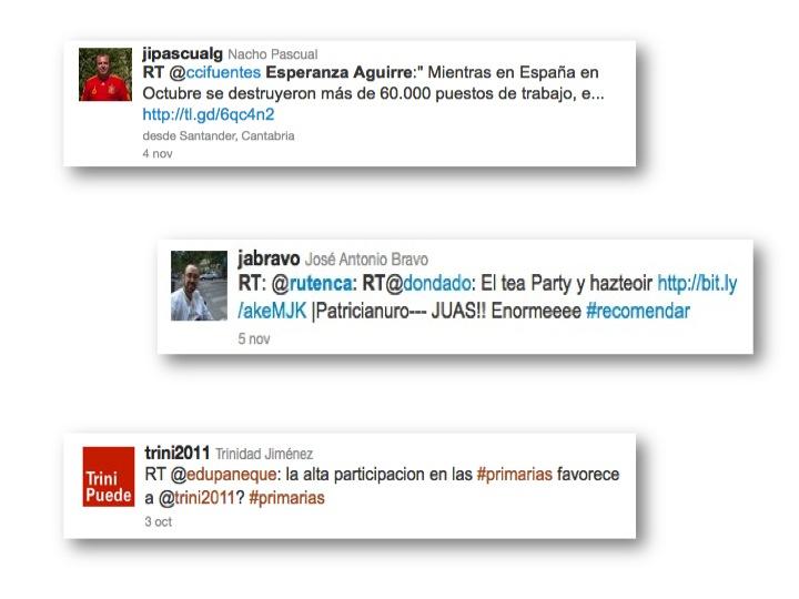 Ejemplos de RT (retweet) en Twitter