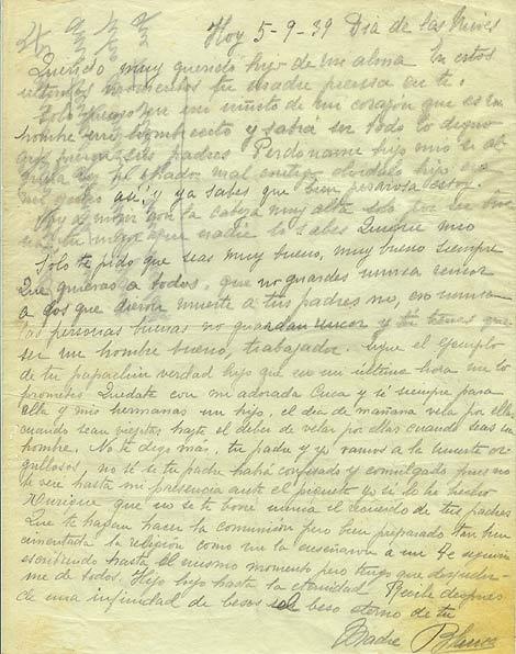 Carta de Blanca Brisac a su hijo Enrique. Fotografía de ElMundo.es