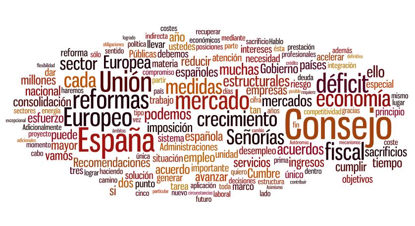 Palabras más repetidas en el discurso de Mariano Rajoy en el Congreso de los Diputados. 11 de julio 2012