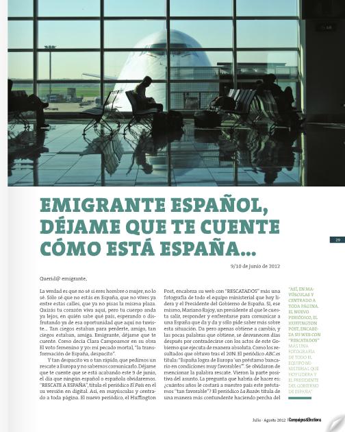 Campaigns & Elections. Págs. 29 - 31. Nº 27. Edición Julio - Agosto 2012