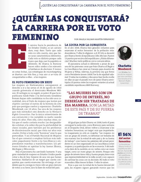 Campaigns & Elections. Págs. 63 – 66. Nº 28. Edición Septiembre - Octubre 2012
