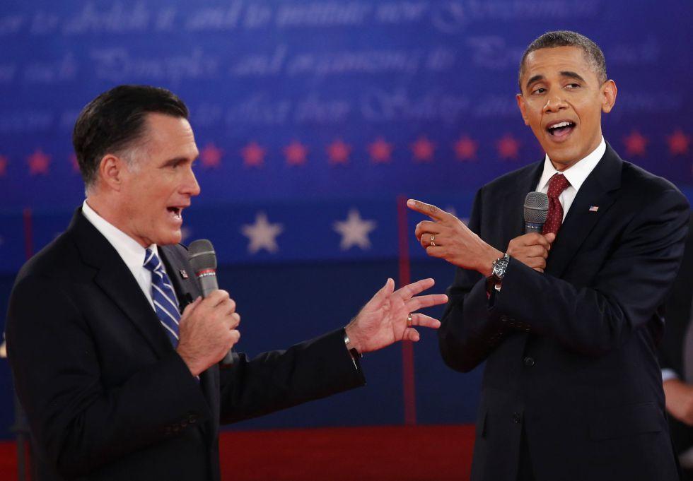 Romney y Obama contraponen posturas. J. MOORE (AFP) Fotografía de El País