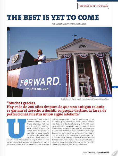 Publicado en Campaigns & Elections, Nº 31, Ed. Enero - Febrero. Pág. 21