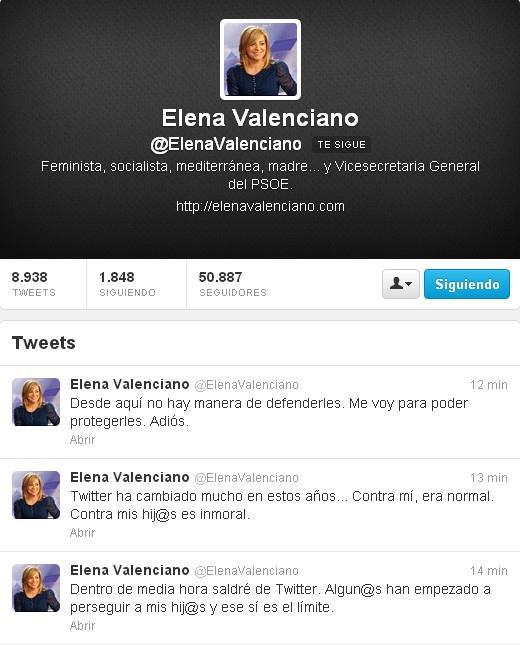 Últimos mensajes de Elena Valenciano en su perfil de Twitter