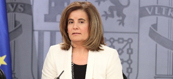 La ministra de Empleo y Seguridad Social, Fátima Báñez, durante la rueda de prensa posterior al Consejo de Ministros. (lamoncloa.gob.es)