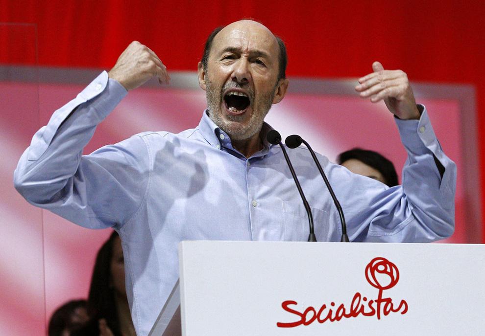 Alfredo Pérez Rubalcaba en el discurso de clausura de la Conferencia Política del PSOE nov. 2013. EFE