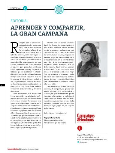 Nº 36 de Campaigns & Elections en español. Noviembre - Diciembre de 2013.