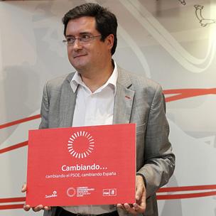 """""""Cambiando el PSOE, cambiando España"""", lema del Congreso Federal Extraordinario del Partido Socialista presentado por Óscar López el 24 de julio de 2014"""