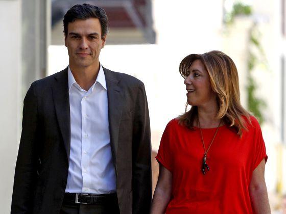 Pedro Sánchez y Susana Díaz a su llegada a la sede del PSOE en Madrid, el pasado día 14. / CARLOS ROSILLO / EL PAIS