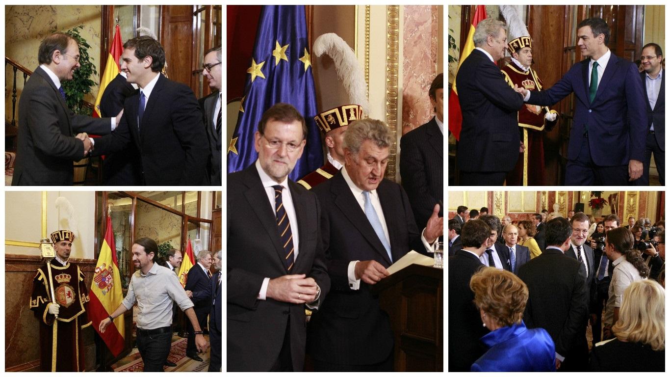 Los diferentes candidatos durante el acto de celebración de la Constitución en el Congreso. EP