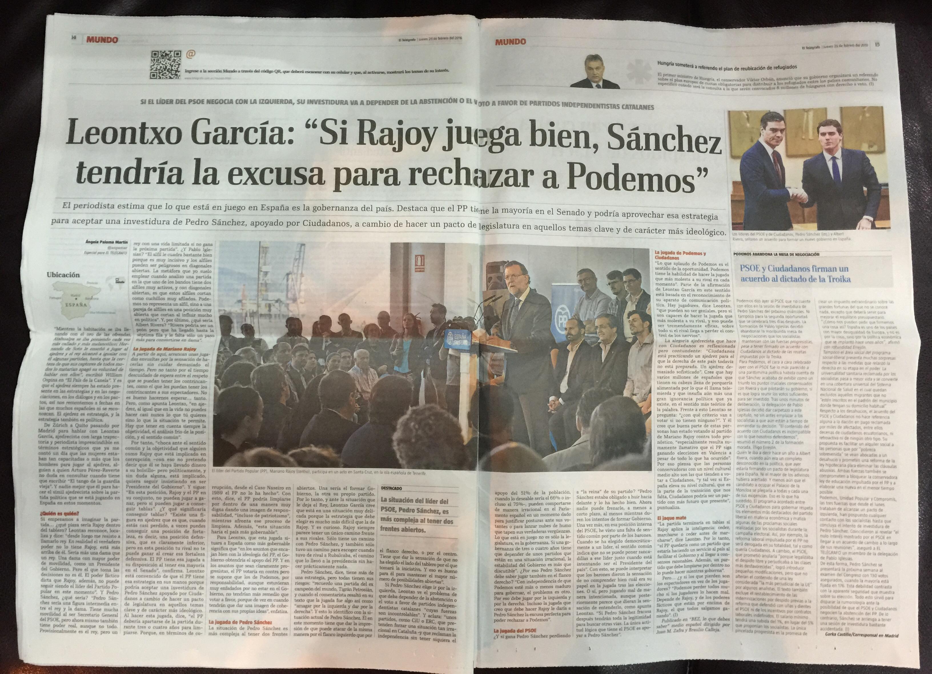Entrevista a Leontxo García también publicada en El Telégrafo de Ecuador el 25 de febrero de 2016