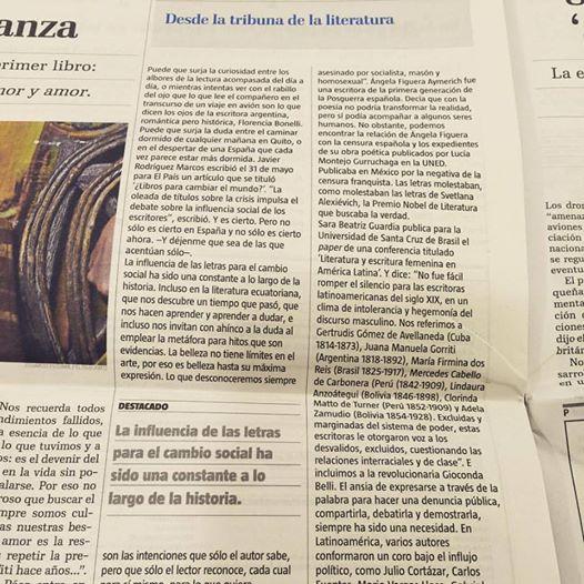 Dese la tribuna de la literatura. En El Telégrafo - Ecuador