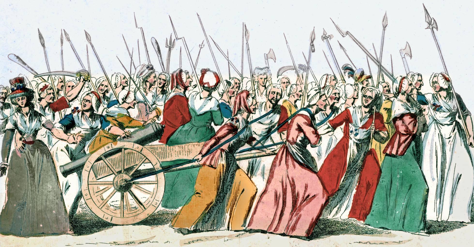 Mujeres en la marcha sobre Versailles el 5 y 6 de octubre de 1789. BIBLIOTECA NACIONAL DE FRANCIA